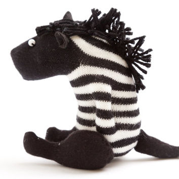 Zebra Miniature Sock Toy - Stuffed Animal Doll, Small Personalized Gift for Baby or Kid, Soft and Handmade