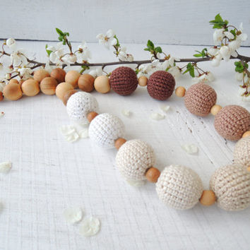Latte Crochet nursing necklace Breastfeeding necklace Organic teething baby Toy Sensory Wooden beads Eco friendly jewelry Gift for new Mom