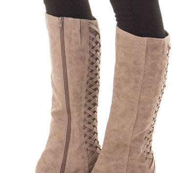 Faux Leather Overlay Boot with Braided Back Detail