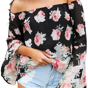 Floral Off Shoulder Chiffon Top in Black