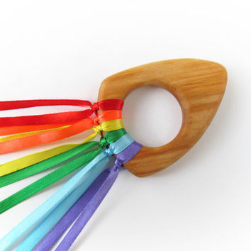 Waldorf Hand Kite-Rainbow Ribbon Sensory Hand Kite-Organic Teethers Toys-Waldorf Toy-Organic Toys-Wood Baby Teether- Baby Toy