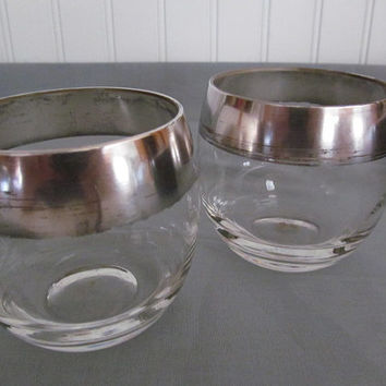 Retro Bar Set Roly Poly Glasses Pitchers Cocktail Shaker Silver Trimmed Mid Century