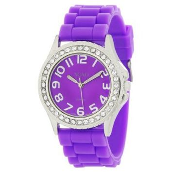XOXO Women's XO3274 Purple Dial Crystal Bezel Boyfriend Silicone Rubber Strap Watch - designer shoes, handbags, jewelry, watches, and fashion accessories | endless.com
