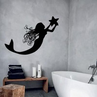 Wall Decal Mermaid Marine Star Girl Room Bathroom Decor Vinyl Stickers Unique Gift (ig2819)