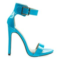 Canter Light Turq By Delicious, High Stiletto Heel Sandal With Ankle Straps