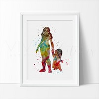 Lilo & Nani, Lilo & Stitch Watercolor Art Print
