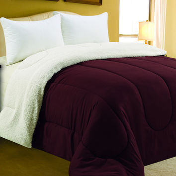"Four Seasons Bedding Collection King Size Sherpa Reversible Comforter (102"" x 86"") - Brick"