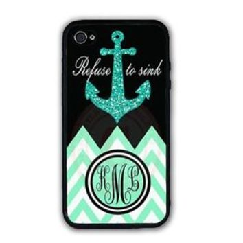 Refuse To Sink Mint Black Chevron Anchor Monogram Custom Case For iPhone 7 6S SE