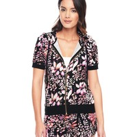 P.Blk/Azalea Ever Ever After Floral Short Sleeve Hoodie by Juicy Couture,