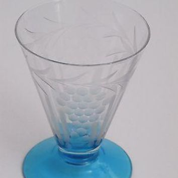 Vintage blue foot water Glass-Clear bowl with optic hand cut grape Pattern