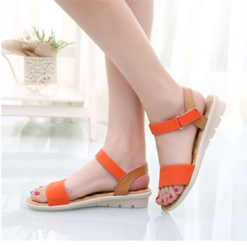 Sweet Ladies Basic Adhesive Sandals Patch Comfortable Flat Women Shoes Summer Style Soft Leather