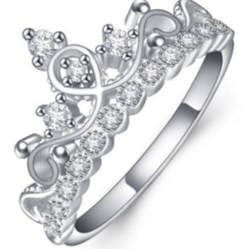 """Pandora"" silver crown ring synthetic rhinestone"