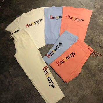 """Burberry"" Women Casual Fashion Knit Rainbow Letter Embroidery Short Sleeve Trousers Set Two-Piece Sportswear"