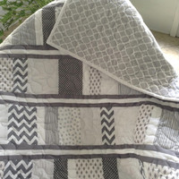 "Baby Quilt - Grey/White -  41"" x 44"" - Boy - Ready to Ship"