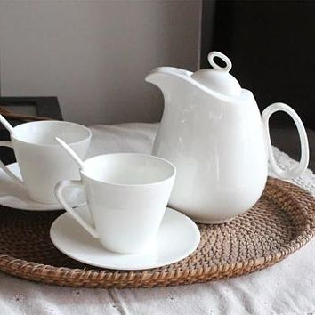 Classic White Ceramic Coffee and Tea Service Set for Two