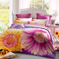 LOVO Sunflower Style 100% Cotton 300TC Bedding Sheet Set Duvet Cover 4-Piece With 2 Pillow Covers Multi-colored KING: Amazon.ca: Home & Kitchen