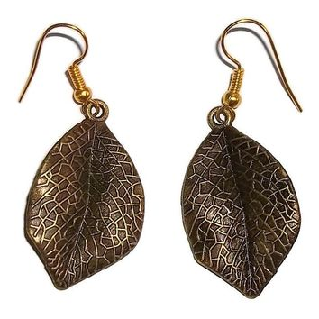 "Bronze Leaf Fashion Drop Dangle Earrings (2""L)"