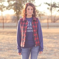 Journey Quilted Vest in Navy/Red Plaid