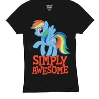 My Little Pony Rainbow Dash Simply Awesome Juniors Black T-Shirt - My Little Pony - Free Shipping on orders over $60 | TV Store Online