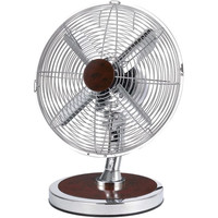 Optimus F-8121 12 Table Fan Oscillating Chrome W/Red Wood Finish Accents