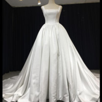Vintage Satin Wedding Dress Ball Gown Bridal Gown
