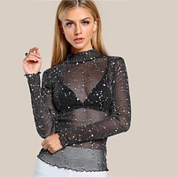 Mock Neck Glitter Mesh Blouse Long Sleeve Tops Black High Neck Elegant Slim Blouse