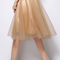 Mesh Overlay Mid Skirt with Bowknot