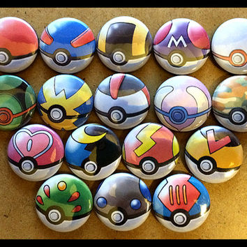Pokemon Pokeballs Button Pinback - You Choose 1