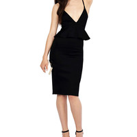 Black Strappy V-Neck Sleeveless Bodycon Dress