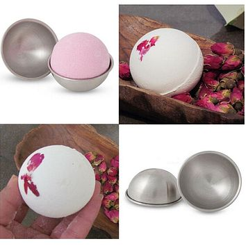 1pair/lot Bath Bomb Cake Mold 3D Aluminum Alloy Ball Sphere Bath Bomb Mold Cake Baking Pastry Mould diameter 4.7 cm/5.7 cm/6.7cm