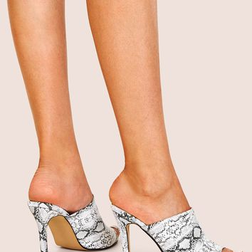 Black & White Peep Toe Snakeskin Stiletto Heeled Mules