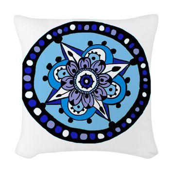 FLORAL STAR HENNA DESIGN WOVEN THROW PILLOW