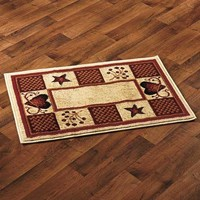 "Accent Rug Hearts Berries Country Rustic Primitive Cabin Farm Burgundy 22"" x 36"""
