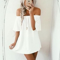 Short Sleeve strapless Dress