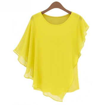 Plain Sleeve Asymmetrical Chiffon Blouse