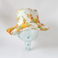 Floral Sun Hat - Lady's Wide Brim Floppy White Summer Cap - Yellow Red Orange Green Flowers - 21.5""