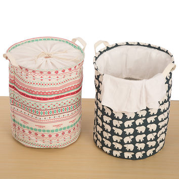 Korean Print Cotton Linen Folded Extra Large Canvas Storage Children Toy Storage Basket 35x45 CM [6377497732]