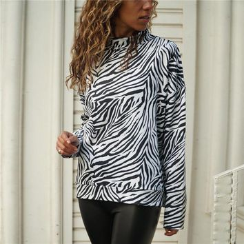 2019 New Zebra Print Womens Tops And Blouses Spring Casual Knitted Shirt Stand Collar Long Sleeve Ladies Blouse Top Blusa Mujer