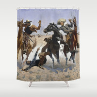 Frederic Remington - Aiding a Comrade Shower Curtain by ArtMasters