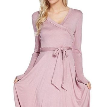 Sasha Mauve Wrap Mini Dress