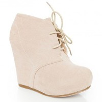 Debrah Wedge Boot in Nude - ShopSosie.com