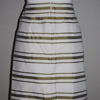 New J. Crew Factory Delphine Metallic Striped Pencil Skirt Size 2