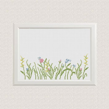 flowers cross stitch pattern Modern Wildflowers Nursery baby girl room diy decor Easy beginner flower grass counted chart instant download