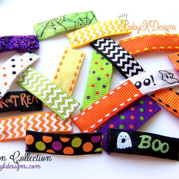 Simple HALLOWEEN Hair Clips Baby K Various Itty Bitty No Bow Snap or Alligator Clip / Toddler Girl No Slip Hair Clips / Nearly bald Newborn