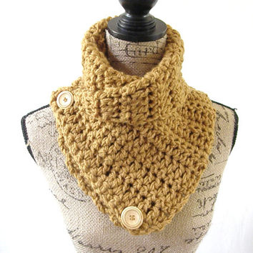 Ready To Ship Honey Brown Handmade Chunky Infinity Scarf Button Cowl Neck Warmer Scarflette