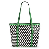Women's Diamond Print Tote Handbag with Green Trim - Black