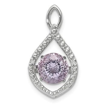 Sterling Silver Diamond And Vibrant Pink Rose De France Amethyst Pendant