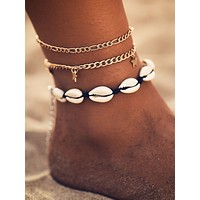 Shell & Star Decor Anklet 3pcs