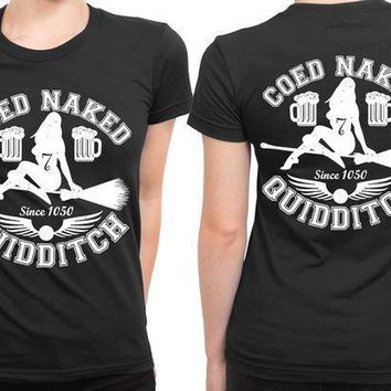 Coed Naked Quidditch 2 Sided Womens T Shirt