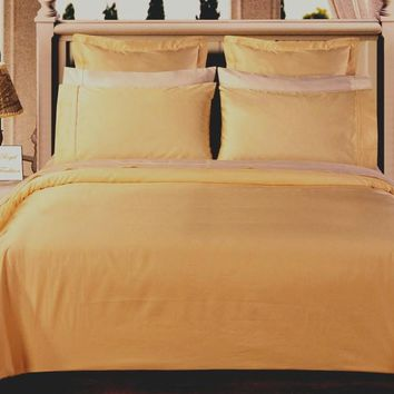 Gold Solid Down Alternative 4-pc Comforter Set 100% Combed cotton 550 Thread count